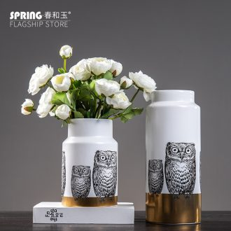 Creative personality owl ceramic vase furnishing articles boreal Europe style home sitting room flower arranging flower implement desktop ornaments