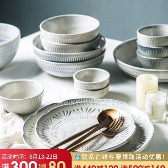 Nice ceramic tableware suit creative Chinese personality dishes retro northern American eating food bowl of home plate