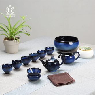 DH kung fu tea set jingdezhen kiln built red glaze, the tea kettle masterpieces of a complete set of tea cups