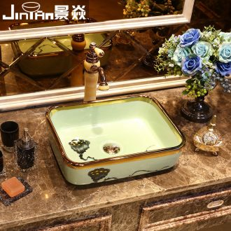 JingYan phnom penh lotus art stage basin rectangle ceramic lavatory household basin basin on the sink