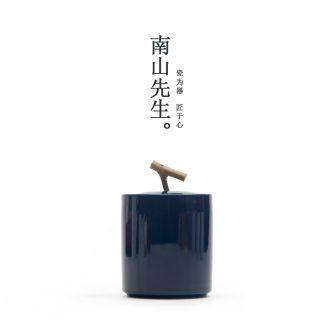 Mr Ji nan shan blue caddy ceramic seal boxes of tea pot placed moistureproof portable small tea warehouse