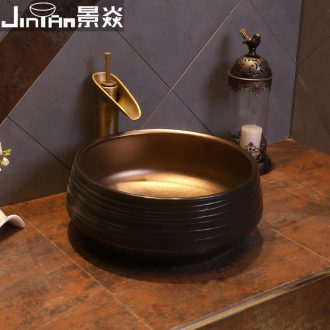 JingYan black gold line art on the stage basin industrial ceramic lavatory Chinese archaize wind restoring ancient ways round the sink
