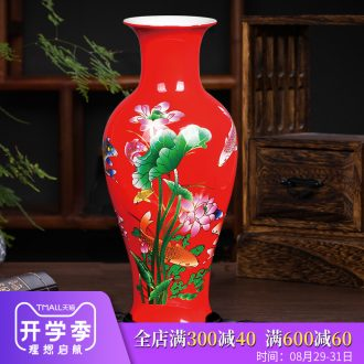 Jingdezhen ceramics red lucky bamboo vases, flower arrangement of Chinese style home sitting room adornment is placed a wedding gift