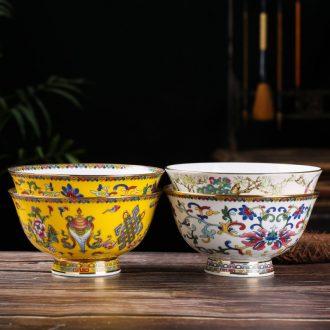 6 inches a single large dishes suit household ceramics rainbow noodle bowl high hot paint edge bone porcelain rice bowls soup bowl