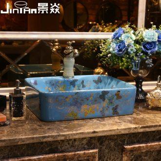 JingYan butterflies art stage basin ceramic lavatory rectangular basin artical on the sink