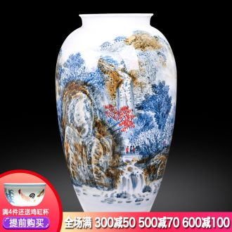 Jingdezhen ceramics master hand painted blue and white porcelain vases, flower arrangement large study of new Chinese style office furnishing articles