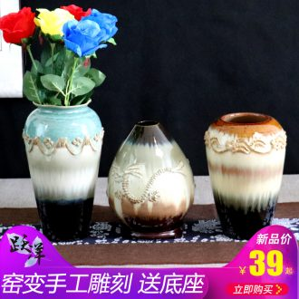 Creative manual jingdezhen ceramic POTS restoring ancient ways of carve patterns or designs on woodwork floor dry flower vases, furnishing articles flower arranging flower pot in the sitting room