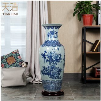 Jingdezhen porcelain ceramics ice crack of large vase living room TV ark corridor decoration handicraft furnishing articles