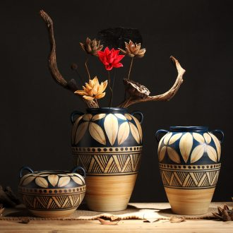 Composed of ancient earthenware jar are dried flower flower implement original ceramic coarse pottery flowerpot vase do old zen simple furnishing articles