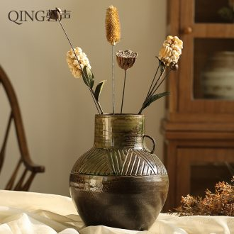 Jingdezhen ceramic flower implement Chinese style restoring ancient ways mesa floret bottle simulation flower dried flowers furnishing articles suit home decoration