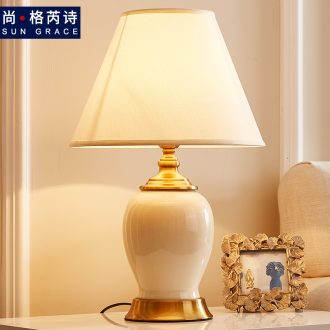 Europe type desk lamp bedside lamp is contracted and contemporary bedroom sweet wedding creative romantic warm light ceramic American bedside table