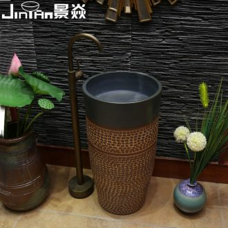 JingYan pillar stone Mosaic art basin ceramic basin of pillar type lavatory basin vertical lavabo one-piece column