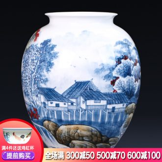 Jingdezhen ceramics famous master hand antique blue and white porcelain vase flower painting and calligraphy study landing place