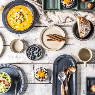 Million jia northern wind ceramic tableware 0 steak the retro flat plate ylang creative household dinner plate plate