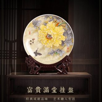 Jingdezhen ceramics decoration hanging dish circular plates crafts home wine rich ancient frame TV ark office