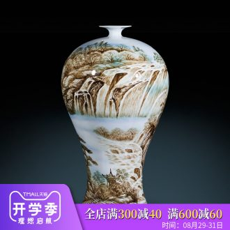 Jingdezhen ceramics vase furnishing articles by hand-painted master of landscape painting the sitting room of Chinese style household decorations