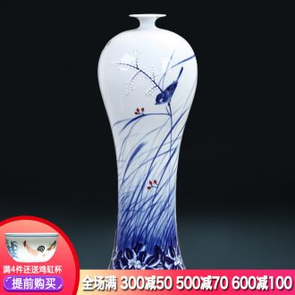 Jingdezhen ceramics master hand painted blue and white porcelain vases, flower arranging furnishing articles antique Chinese wine sitting room adornment