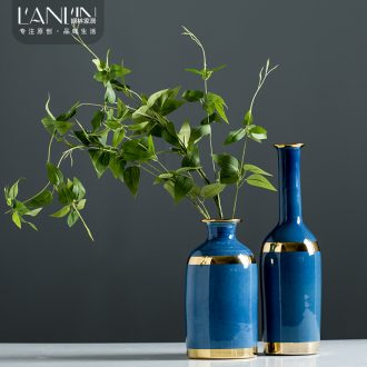 New Chinese style household blue vase ceramic vase furnishing articles furnishing articles flower arranging European contracted sitting room porch with phnom penh