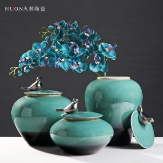 Modern new Chinese style household adornment creative ceramic handicraft furnishing articles riches and honour bird TV ark cover pot sitting room