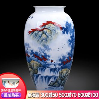 Master of jingdezhen ceramics hand-painted antique flower arranging large Chinese blue and white porcelain vase in the sitting room porch place