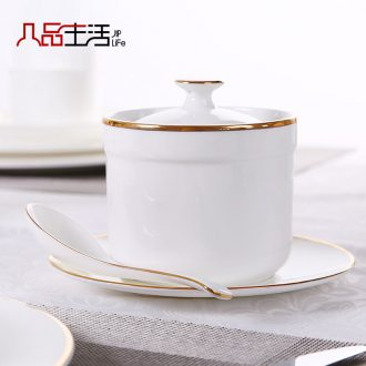 Bone porcelain cup with cover water bird's nest shark's fin soup stew stew medicinal food cup white steamed egg stew soup ceramics tableware