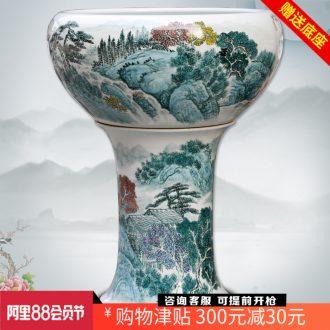Jingdezhen hand-painted landscape painting ceramic aquarium tortoise cylinder goldfish bowl sitting room of Chinese style household ground large furnishing articles