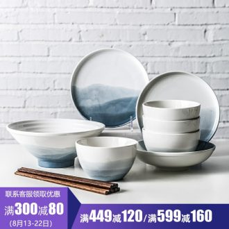 Million jia creative ceramics tableware home dishes suit contracted Nordic bowl chopsticks, ins web celebrity complete sets of dishes