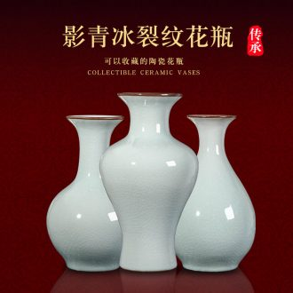 Jingdezhen porcelain ceramic vase ice crack glaze ceramic sitting room of Chinese style household adornment company furnishing articles of borneol