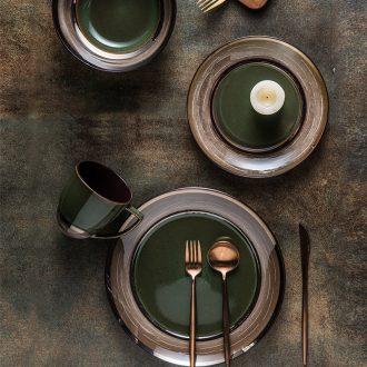 Ijarl million jia northern wind restoring ancient ways is 0 home the flat ceramic plate tableware western-style steak disc dessert plate