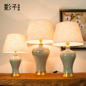 American retro full copper ceramic desk lamp contracted and contemporary study of crack sitting room adornment lamps and lanterns of bedroom the head of a bed, 1017
