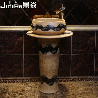 JingYan retro wave art pillar basin ceramic basin of pillar type lavatory basin vertical lavabo one-piece column