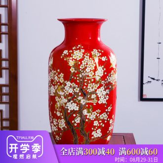 Jingdezhen ceramics vase high place Chinese red beaming Angle of a few adornment sitting room ground decoration