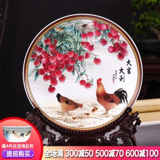 Jingdezhen ceramics decorated hang dish hang dish plate prosperous Chinese wine sitting room adornment furnishing articles