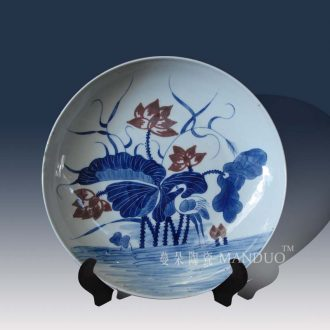 Jingdezhen blue and white youligong crane crane lotus lotus flower kangxi hand-painted porcelain furnishing articles