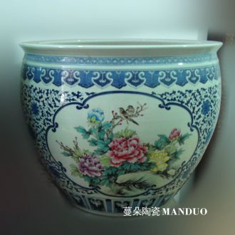 Jingdezhen blue and white color bucket hand-painted peony cylinder diameter 60 courtyard sitting room is big hand draw four seasons flower cylinder