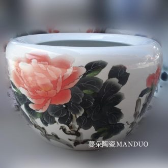 Jingdezhen special blue hand-painted ceramic cylinder peony VAT aquariums art painting and calligraphy ceramic cylinder