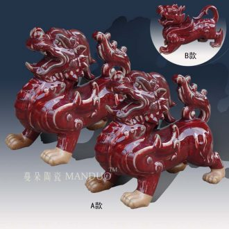 Jingdezhen red kirin the mythical wild animal porcelain sculpture stereo furnishing articles furnishing articles red red kirin sculpture