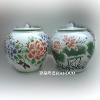 Jingdezhen meters large porcelain jar of 50 kg 60 jin liquor jar of 50 kg - 60 kg color peony lotus flower pot