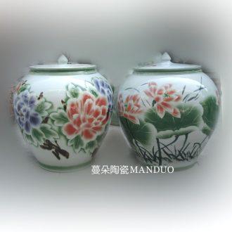 Jingdezhen meters large porcelain jar of 50 kg 60 jin liquor jar of 50 kg - 60 kg color peony lotus flower pot