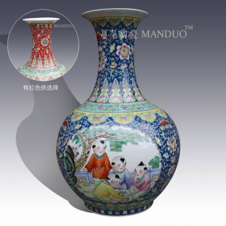 Jingdezhen hand-painted pastel lad tong qu figure vase classical furnishings simple space artistic vase