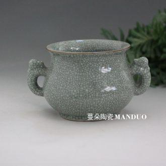 Elder brother kiln open ears zun archaize open pills porcelain vases, antique vase elegant antique ceramic culture