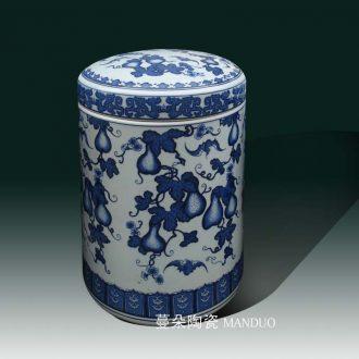 Jingdezhen porcelain ceramic blue and white porcelain art barrel cover pot ceramic porcelain storage storage tank