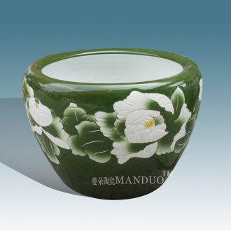 Jingdezhen ceramic art painting and calligraphy is big fish breeding goldfish high strength ceramic cylinder green peony big cylinder cylinder