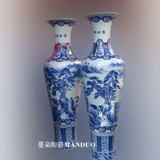 Big vase landed hand-painted ceramic modern process landscape high-grade vase opening present high 1.3-16