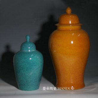 Jingdezhen kiln general orange blue cans of soft adornment display general general warm pot