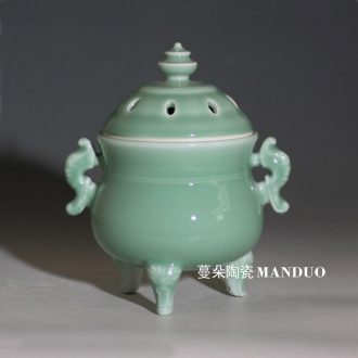 Jingdezhen shadow green ceramic censer ears porcelain present high-grade triangle censer mosquito-repellent incense ta