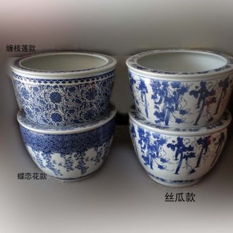 Jingdezhen blue and white porcelain cylinder and cylinder bamboo seven sages VAT blue and white porcelain lotus recent porcelain jar