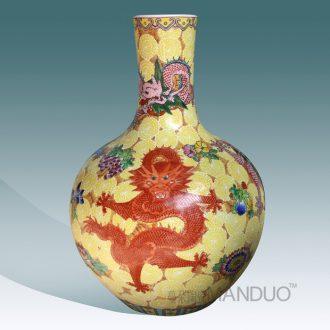 Jingdezhen hand-painted pastel terrible dragon vase high-grade high-grade gift porcelain vase furnishing articles in the living room