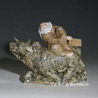Lao tze through character three-dimensional porcelain sculpture furnishing articles furnishing articles laozi through ride cow porcelain sculpture