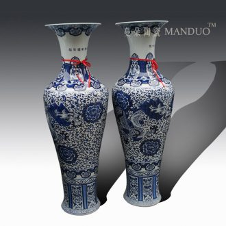 Tendril ceramics jingdezhen blue and white dragon vase longfeng hand-painted flowers large vase vase 1 m to 2 m